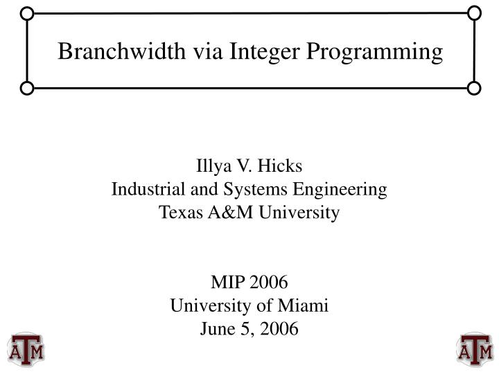 Branchwidth via integer programming