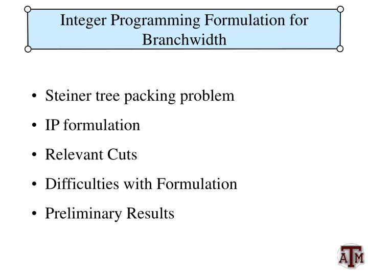 Integer Programming Formulation for Branchwidth