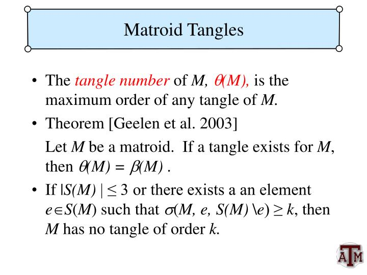 Matroid Tangles