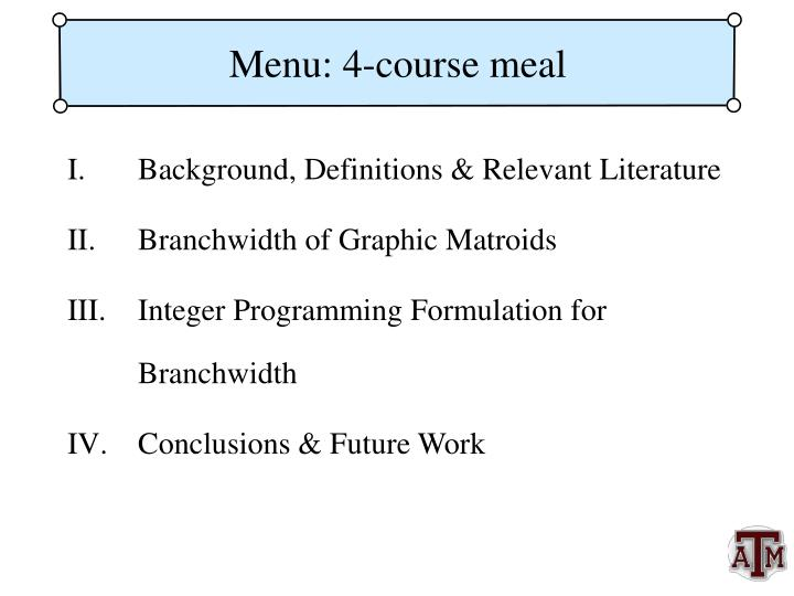 Menu 4 course meal
