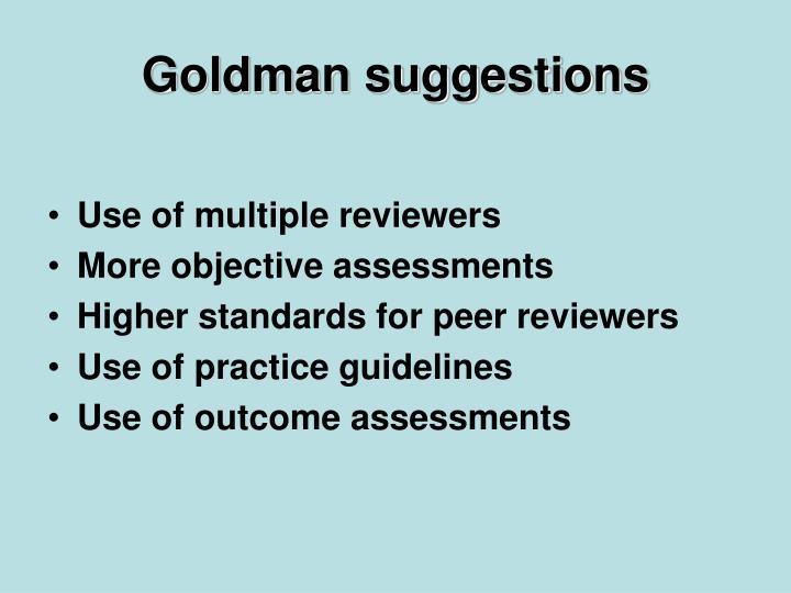 Goldman suggestions