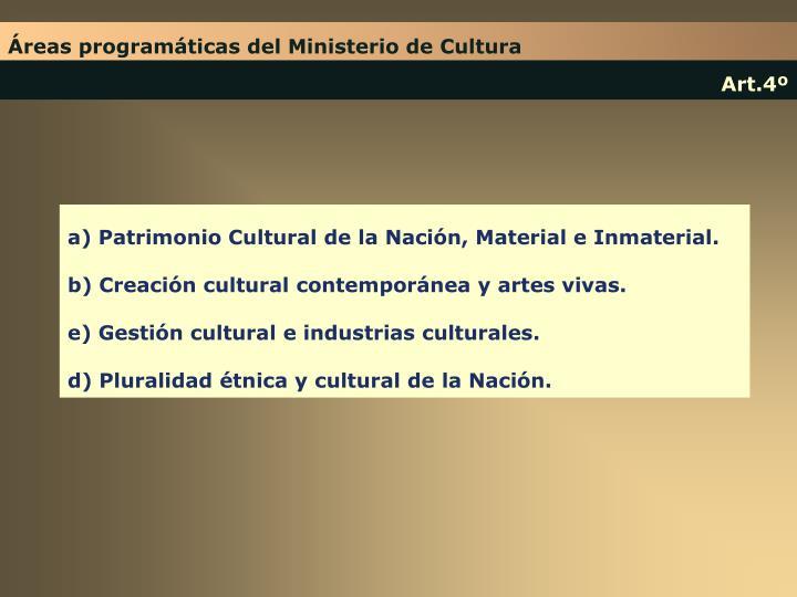 Áreas programáticas del Ministerio de Cultura