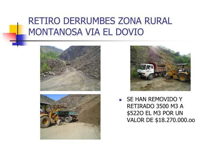RETIRO DERRUMBES ZONA RURAL MONTANOSA VIA EL DOVIO
