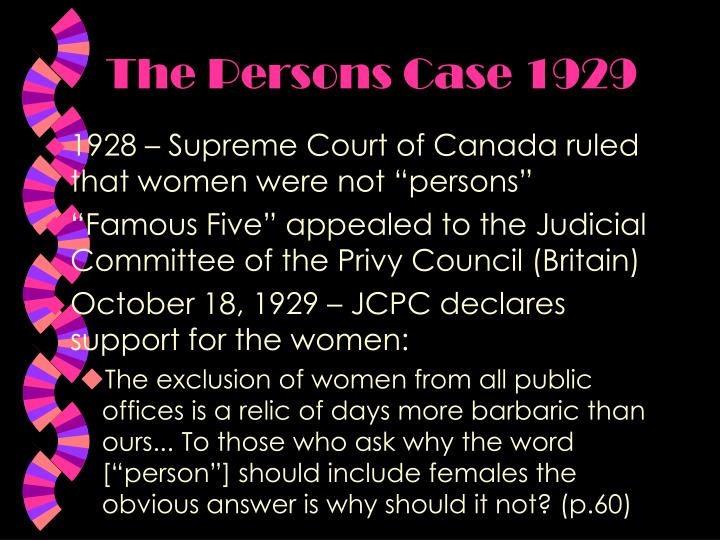 The Persons Case 1929