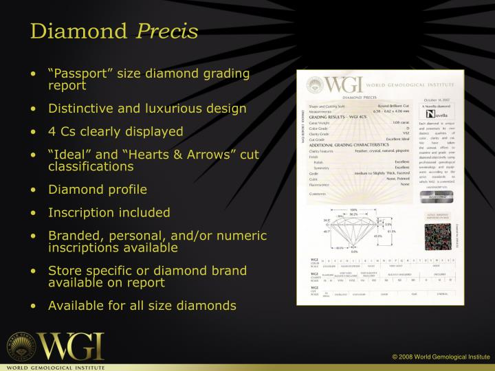 """Passport"" size diamond grading report"
