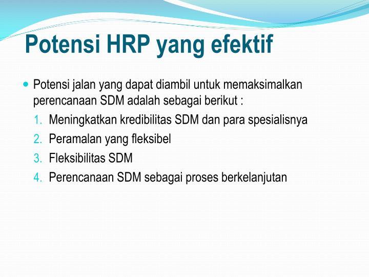 Potensi HRP yang efektif