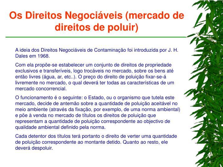 Os Direitos Negociáveis (mercado de direitos de poluir)