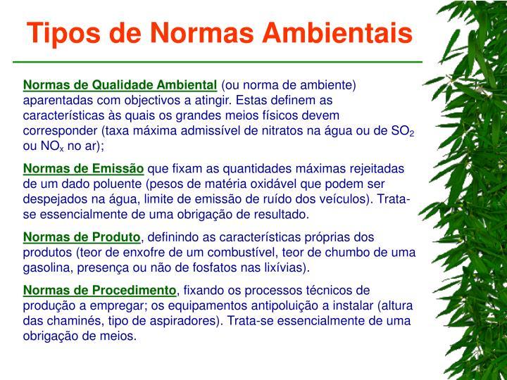 Tipos de Normas Ambientais