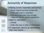 anonymity of responses