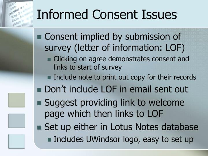 Informed Consent Issues