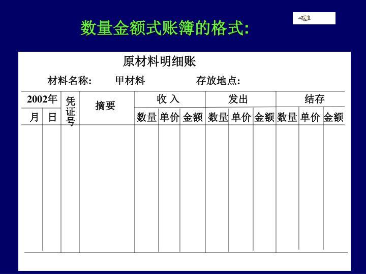 数量金额式账簿的格式
