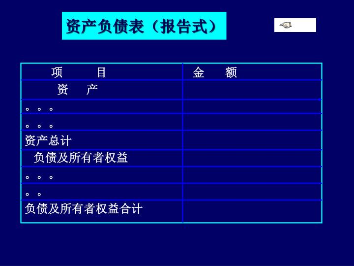 资产负债表(报告式)