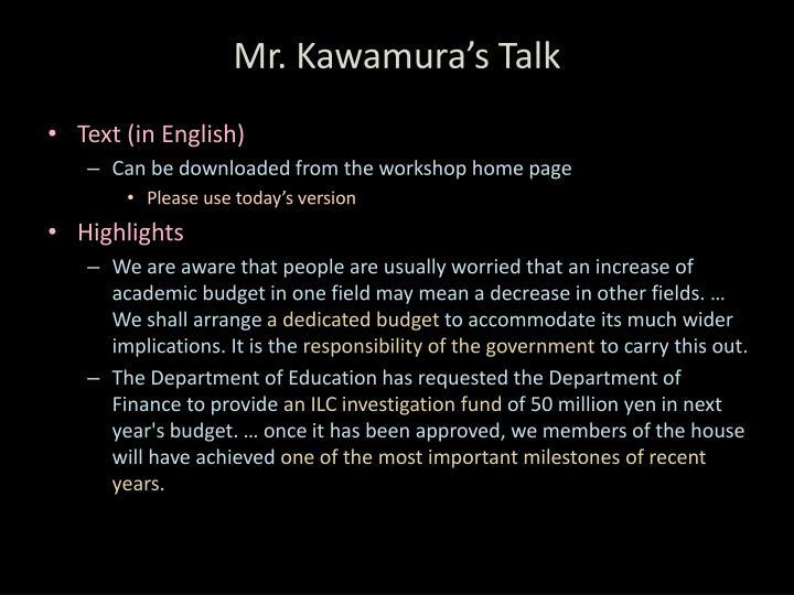 Mr. Kawamura's Talk