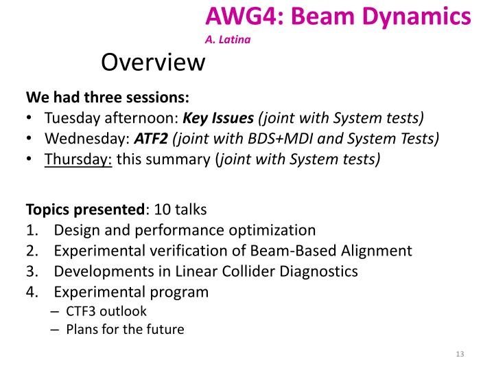 AWG4: Beam Dynamics