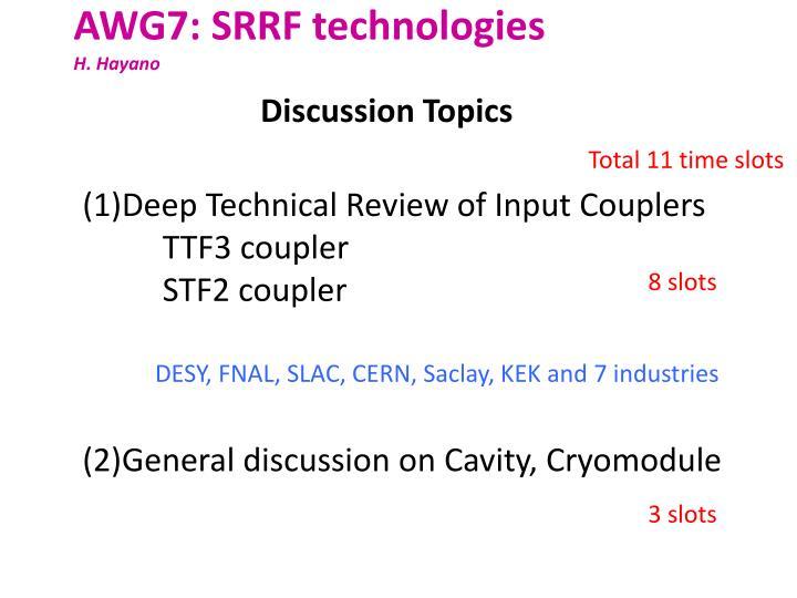 AWG7: SRRF technologies