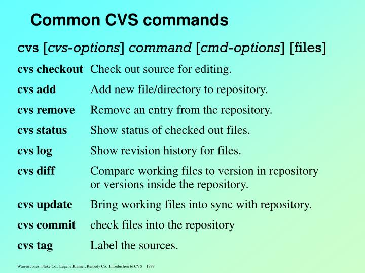 Common CVS commands
