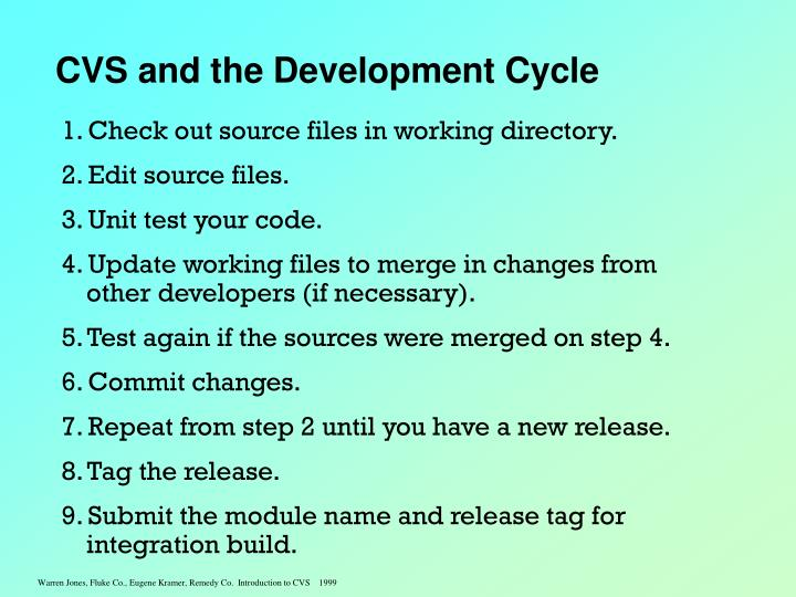 CVS and the Development Cycle