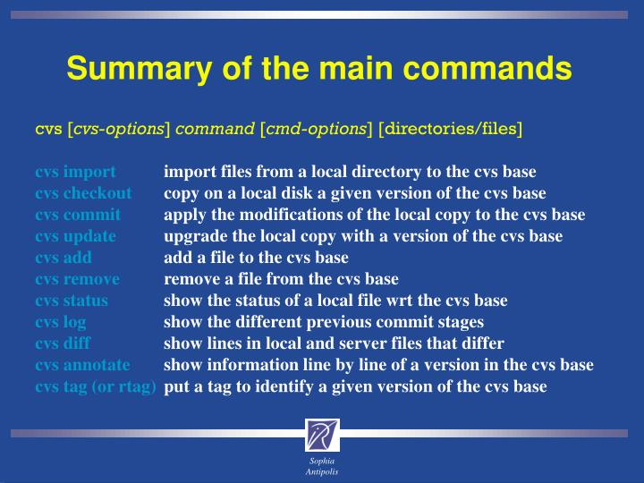 Summary of the main commands