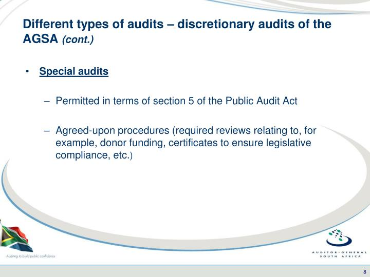 Different types of audits – discretionary audits of the AGSA