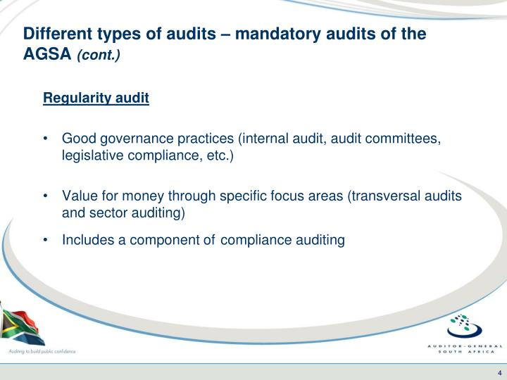 Different types of audits – mandatory audits of the