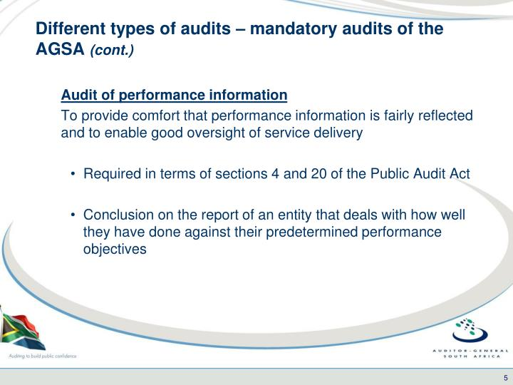 Different types of audits – mandatory audits of the AGSA