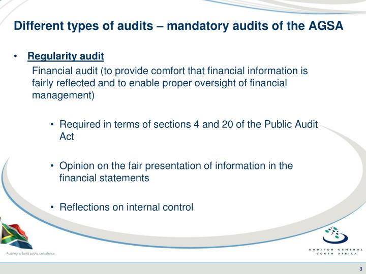 Different types of audits mandatory audits of the agsa
