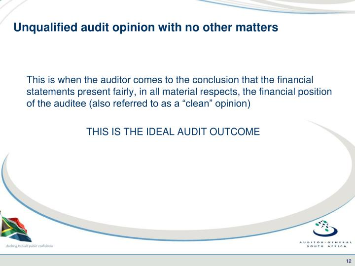 Unqualified audit opinion with no other matters
