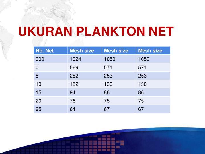 UKURAN PLANKTON NET
