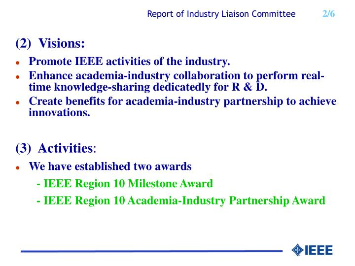 Report of industry liaison co mmittee 2 6