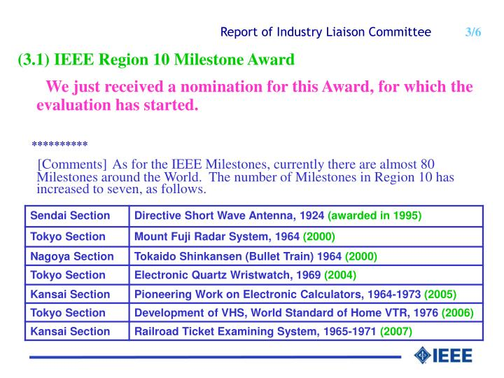 Report of industry liaison co mmittee 3 6