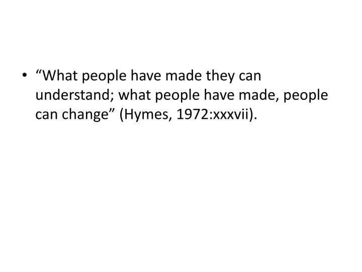 """What people have made they can understand; what people have made, people can change"" ("