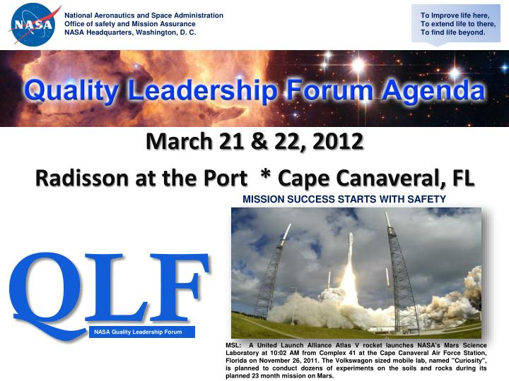 March 21 22 2012 radisson at the port cape canaveral fl