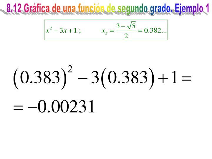 8.12 Gráfica de una función de segundo grado. Ejemplo 1