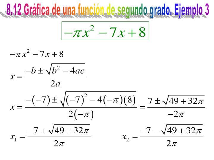 8.12 Gráfica de una función de segundo grado. Ejemplo 3