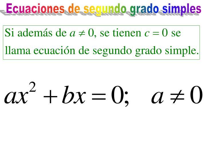 Ecuaciones de segundo grado simples