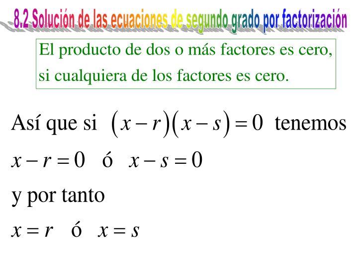 8.2 Solución de las ecuaciones de segundo grado por factorización