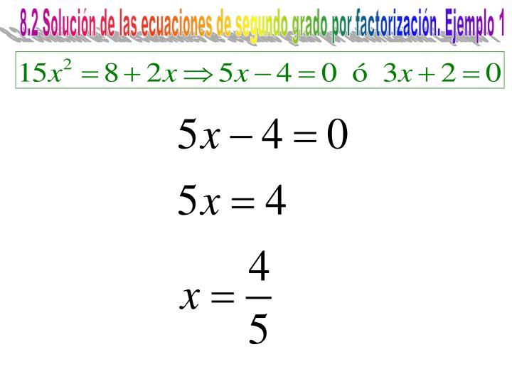 8.2 Solución de las ecuaciones de segundo grado por factorización. Ejemplo 1