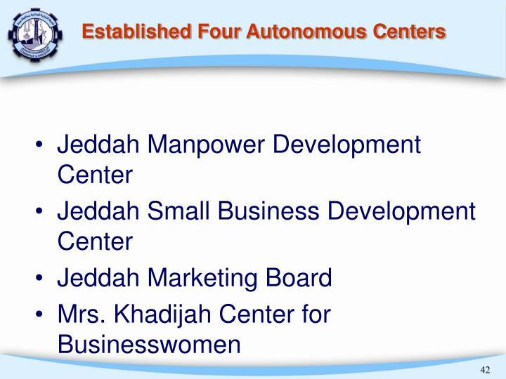Established Four Autonomous Centers