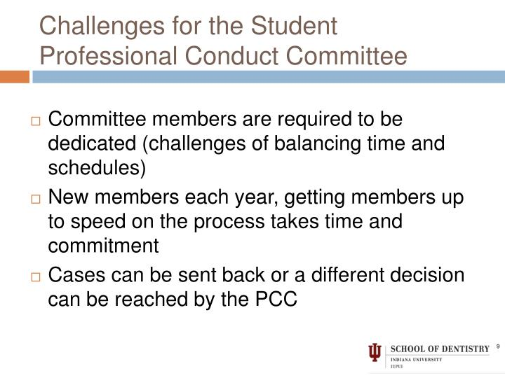 Challenges for the Student Professional Conduct Committee
