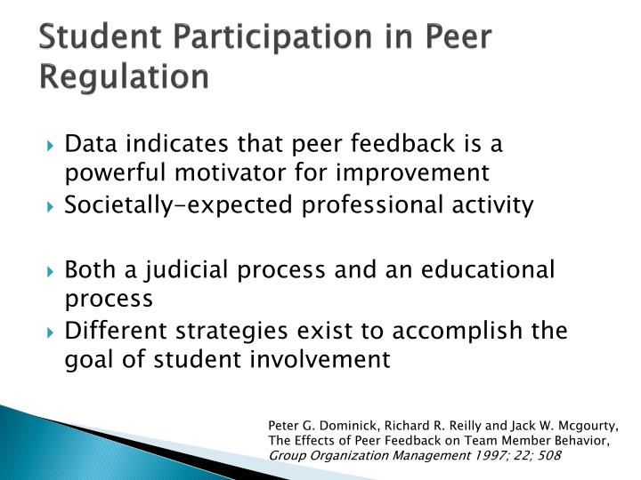 Student Participation in Peer Regulation