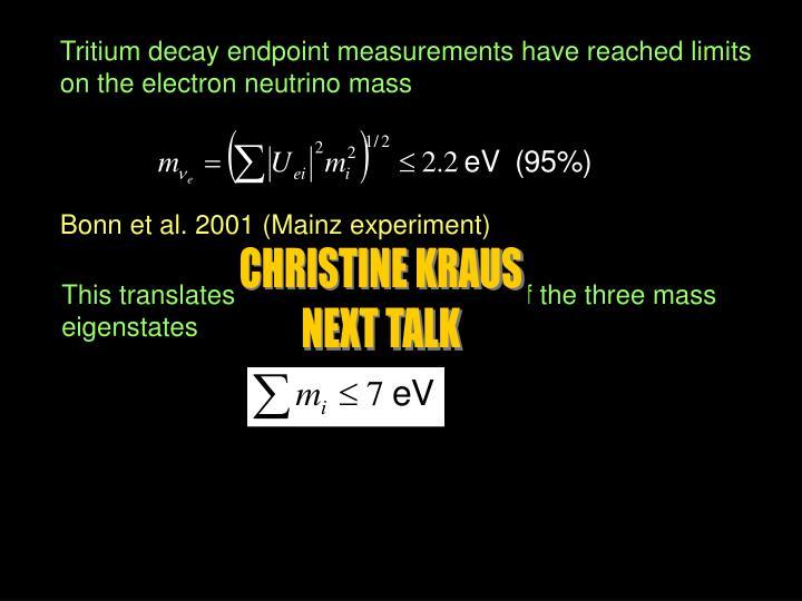 Tritium decay endpoint measurements have reached limits
