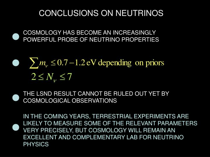 CONCLUSIONS ON NEUTRINOS