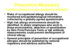 preventive measures further actions for occupational allergies