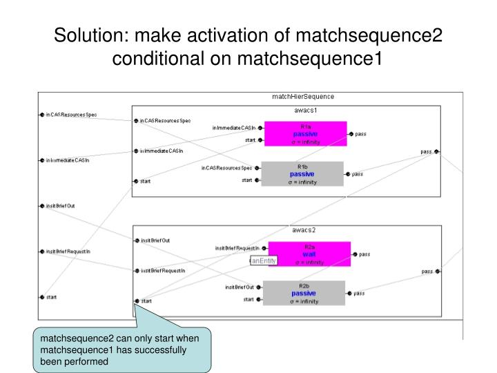 Solution: make activation of matchsequence2 conditional on matchsequence1