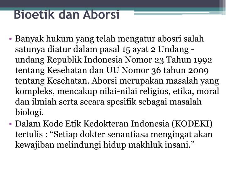 Bioetik dan Aborsi