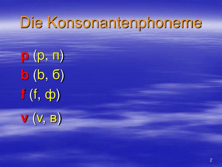Die Konsonantenphoneme