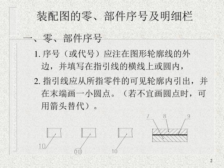 装配图的零、部件序号及明细栏