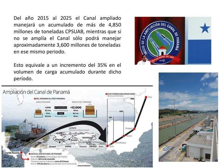 Del año 2015 al 2025 el Canal ampliado manejará un acumulado de