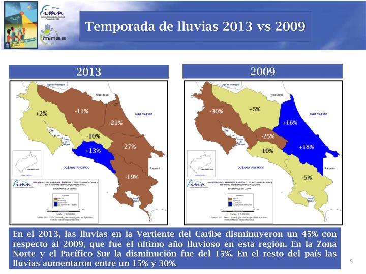 Temporada de lluvias 2013 vs 2009