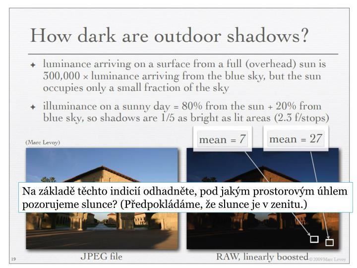 Na základě těchto indicií odhadněte, pod jakým prostorovým úhlem pozorujeme slunce? (Předpokládáme, že slunce je v zenitu.)